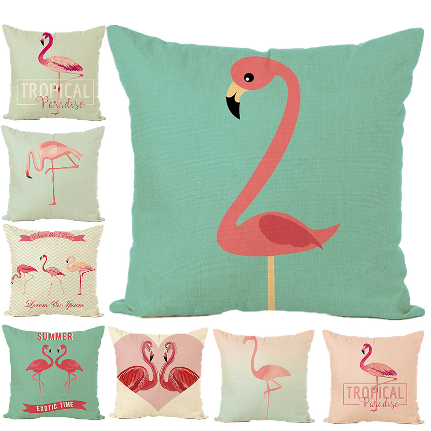 Summer Flower Birds Cushion CoverFlamingo Cactus Soft Pillow Cases Pillow Covers Bedroom Sofa Decoration