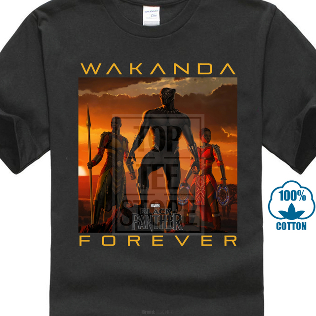 826b603bb Wakanda Forever T-Shirt Men Black Panther Tshirt 100% Cotton Mother Day  Tops &