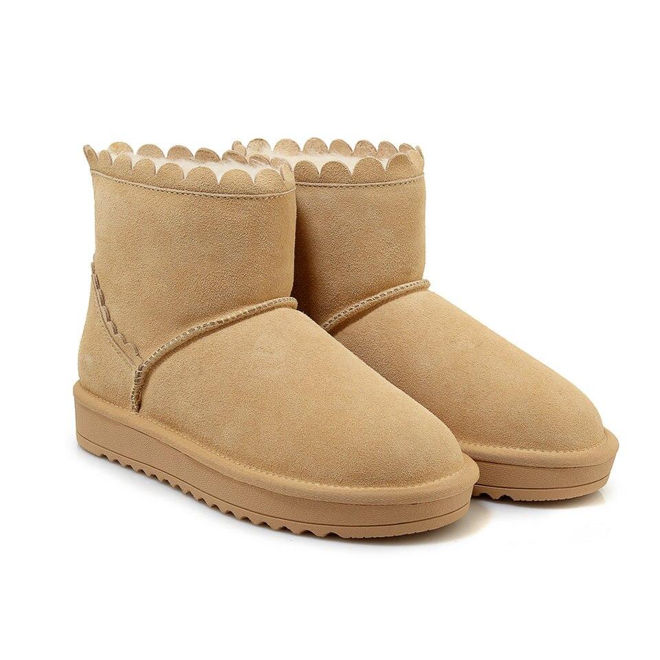 Zapatos 9 Botas Invierno De Mantener Planos Nieve Mujeres amarillo Tamaño 4 Señoras Forrado Gris Negro Caliente Talones Casuales gris Eshtonshero Piel Botines AqUtw