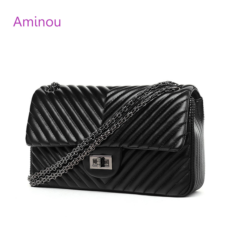 Aminou Small Luxury Handbags For Women Brand Designer Shoulder Bag Lady V Stripe Crossbody Bags Women