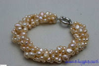 Shipping 5strand Twist Natural Pink Freshwater Pearl Beaded Bracelet Handmade Alloy 7 5 5 25
