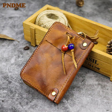 PNDME vintage simple first layer cowhide key case handmade soft genuine leather small with coin zipper credit cards bags purse