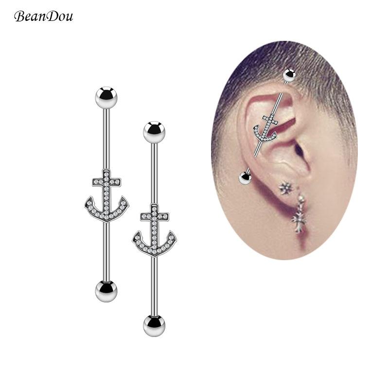 "Pair 14g 1/& 1//4/"" Black Titanium Industrial Barbell Cartilage Piercing"