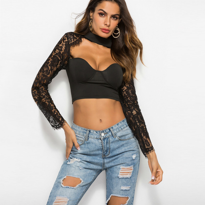 MUXU black lace sexy long sleeve blouse woman clothes transparent summer for women tops