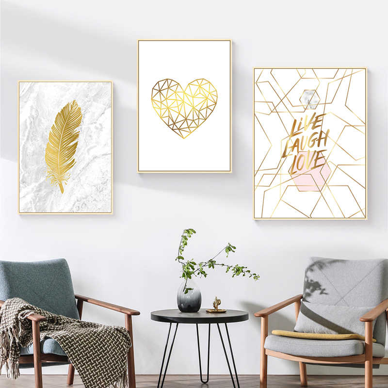 Nordic Marble Canvas Painting Gold Feather Poster Heart Canvas Abstract Wall Art Pictures Wall Pictures for Living Room Unframed