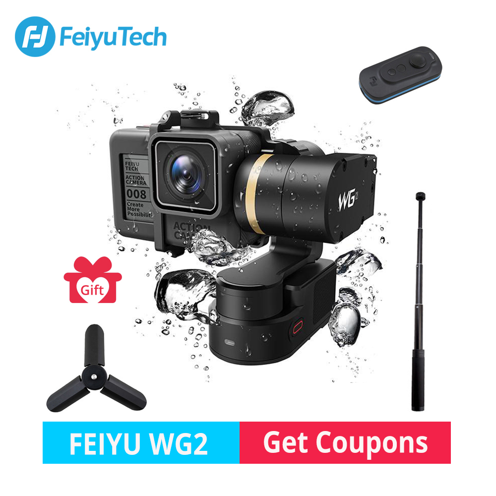FeiyuTech WG2 Waterproof Gimbal Wearable 3-axis Stabilizer for Gopro hero 6 4 5 xiomi yi 4K SJCAM Go pro Action Camera Gimbal fpv 3 axis cnc metal brushless gimbal with controller for dji phantom camera drone for gopro 3 4 action sport camera only 180g