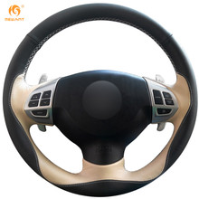 MEWANT Black Beige Leather Car Steering Wheel Cover for Mitsubishi Lancer EX Outlander ASX Colt Pajero Sport