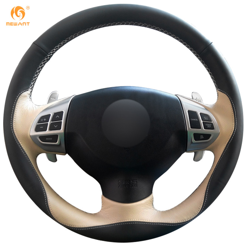 Mewant Black Beige Leather Car Steering Wheel Cover For
