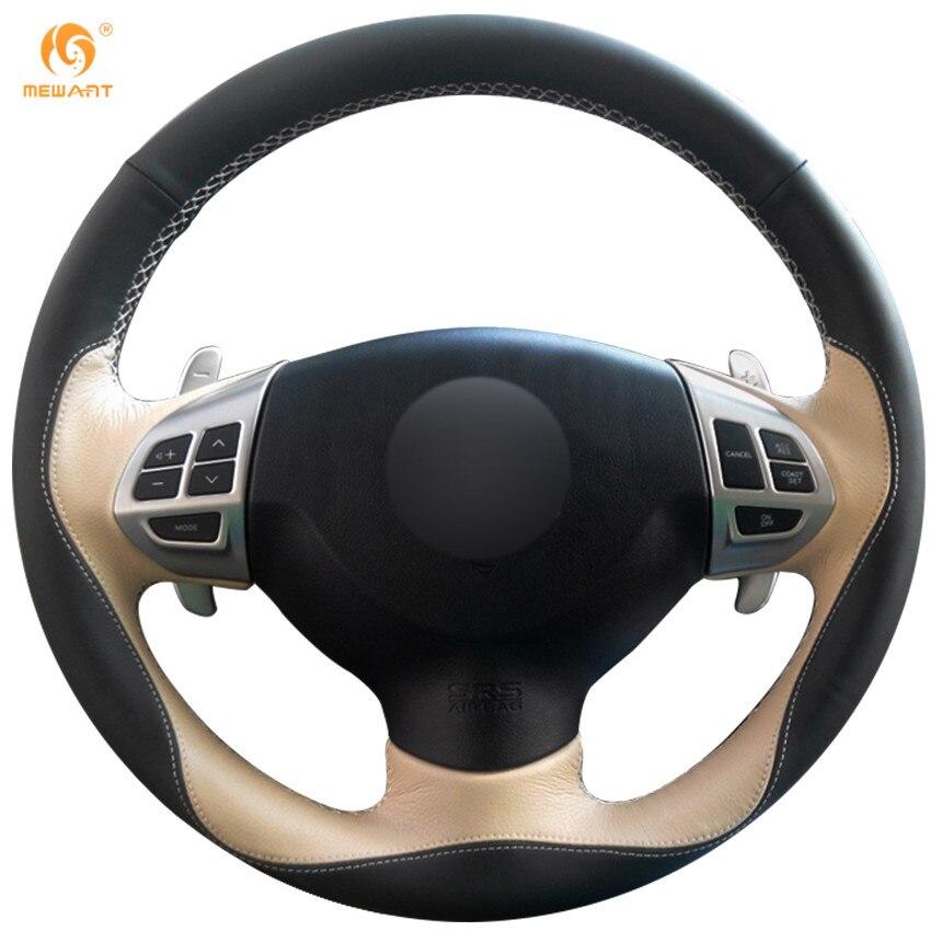 MEWANT Black Beige Leather Steering Wheel Cover for Mitsubishi Lancer X 10 2007-2015 Outlander 2006-2013 ASX 2010-2013 Colt
