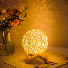 Dimmable Rattan Ball Night Light Moon Lamp Bedside Table For Bedroom Xmas Party Wedding Holiday Indoor Lighting