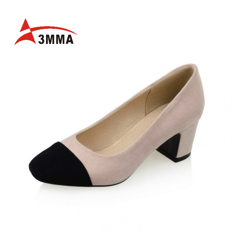 3mma large size high heels shoes womens patchwork