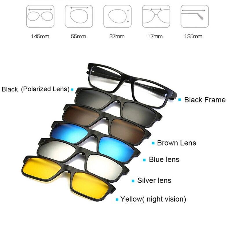 ... Купить Модные оптический зрелище кадр Для мужчин Для женщин  Близорукость с 5 клип на солнцезащитные очки поляризованные Магнитные очки  для мужски. 8bb4ad273f8