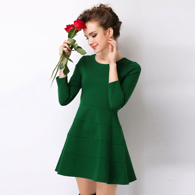 Rose red dresses long sleeve for women