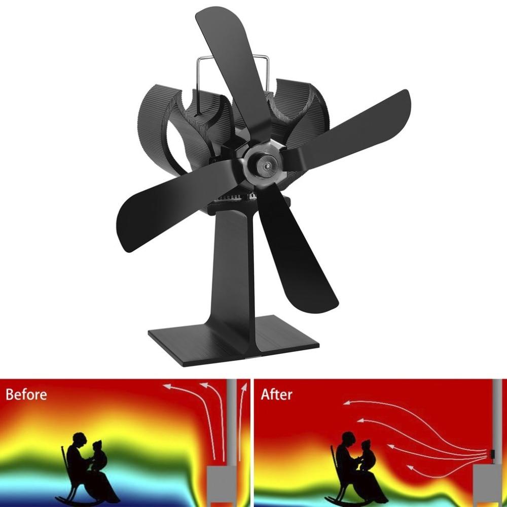Black Heat Powered 4 Blades Stove Fan Log Fireplace Wood Burner Eco Ultra Quiet
