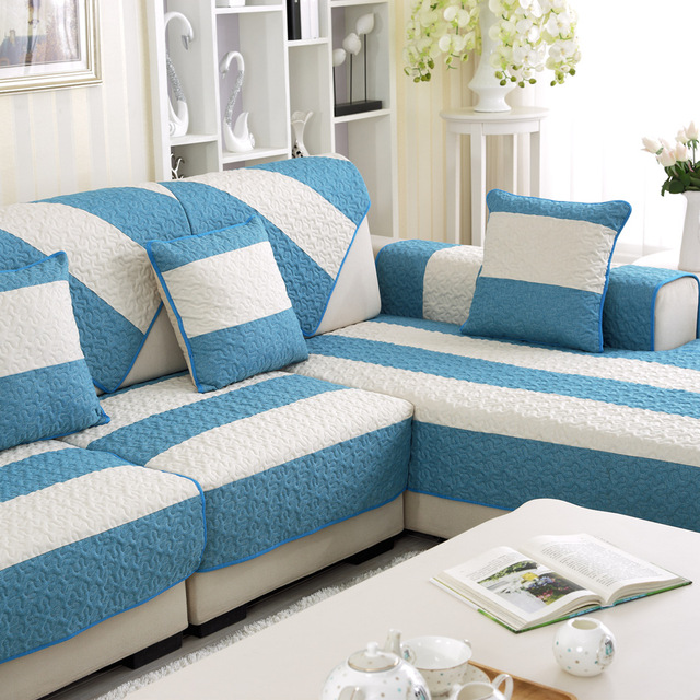 Summer Linen Couch Covers For Home Blue Strip Pattern Sofa Slipcovers