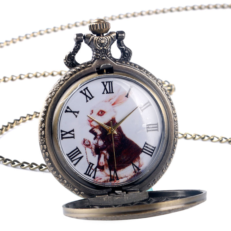 Fashion Large Bronze Thin Chain Rabbit Retro Pocket Watch Retro Roman Scale Pocket Watch