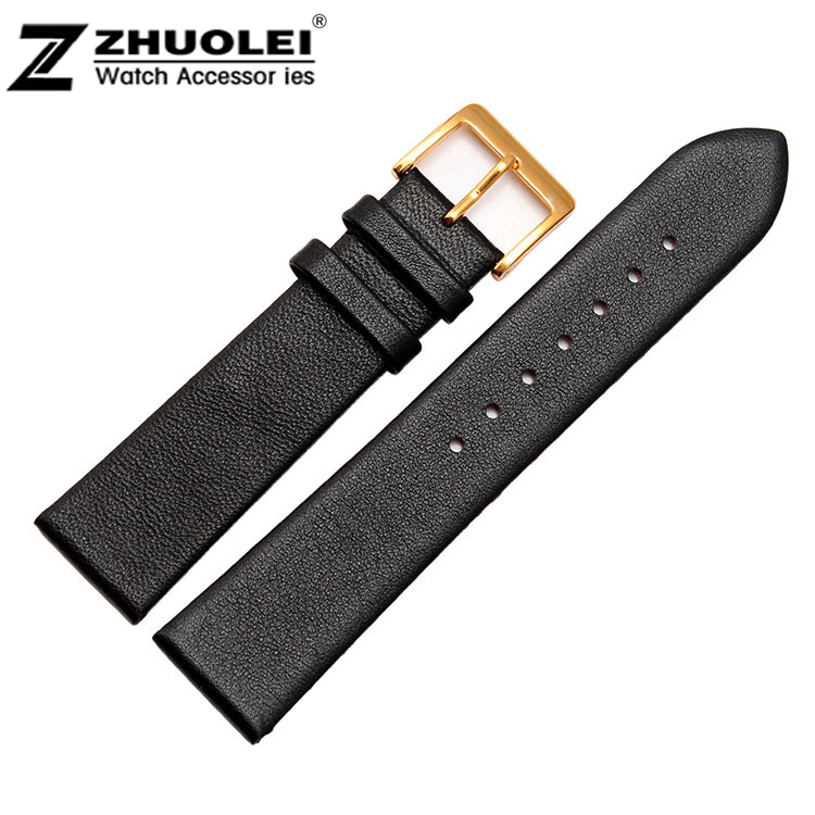 цена на Watch Strap 12mm 14mm 16mm 18mm 20mm 22mm 24mm Black Thin Genuine Leather Watchbands Gold Buckle + Tool With 2 Spring Bar