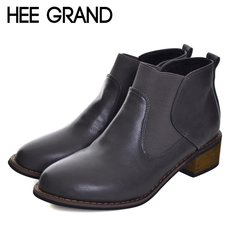 HEE GRAND Chelsea Boots Women Fashion Boots Causal Women Winter Shoes Ankle Boots Women Thick Heel Boots XWX6135 shiningthrough 2018 round toe cow leather solid nude women ankle boots thick heel brand women shoes causal motorcycles boots