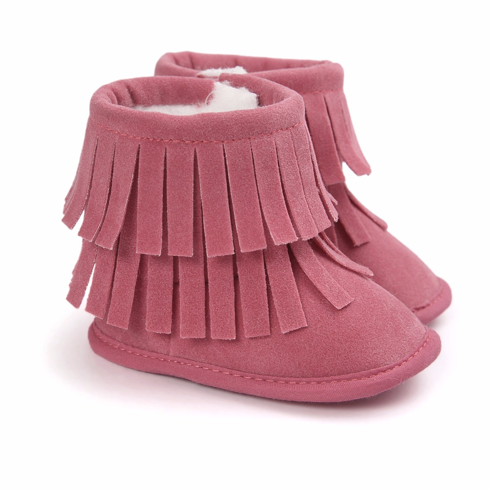 Winter Warm Baby Girl Shoes With Fur Soft Soled Baby Shoes Girls Booties 0-18M LM58