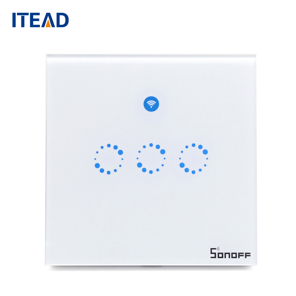 Sonoff T1 UK Smart Wall Switch WiFi RF APP Touch Control Wall Light Switch 1 2 3 Gang 86 Type Panel Smart Home sonoff t1 us eu uk wifi rf app touch control wall light switch 1 2 3 gang glass panel wall touch light switch smart home