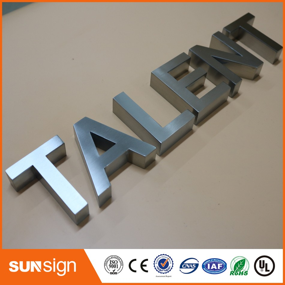 Wall mount letters sign 3d stainless steel letters