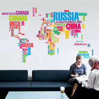 Colors Letters World Map Removable Wall Paper Home Decor Art Decal Wall Sticker