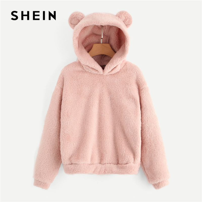 SHEIN Pink Preppy Lovely With Bears Ears Solid Teddy Hoodie Pullovers Sweatshirt Autumn Women Campus Casual Sweatshirts floral chiffon dress long sleeve