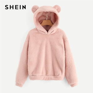 SHEIN Preppy Lovely With Bears Ears Solid Teddy Hoodie Pullovers Sweatshirt Autumn Women Campus Casual Sweatshirts(China)
