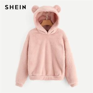 SHEIN Preppy Lovely With Bears Ears Solid Teddy Hoodie Pullovers Sweatshirt Autumn Women Campus Casual Sweatshirts