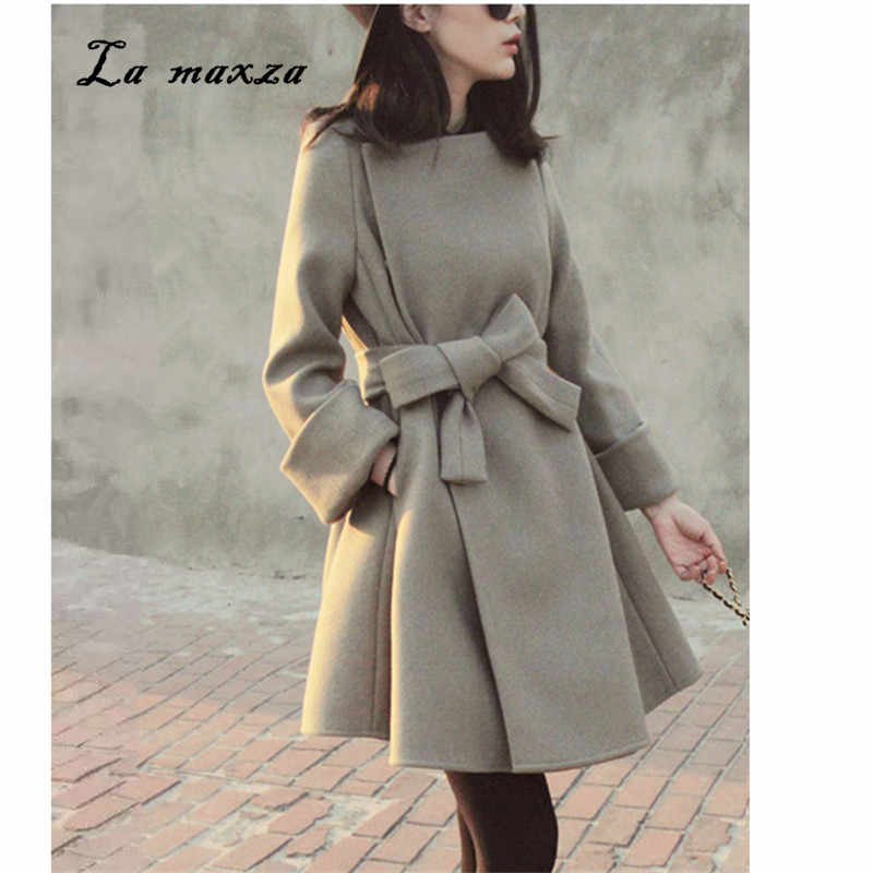 Woman Coats Winter 2018 Elegant Warm Korean Style Fashion Outwear Long Wool Coat New Arrivals