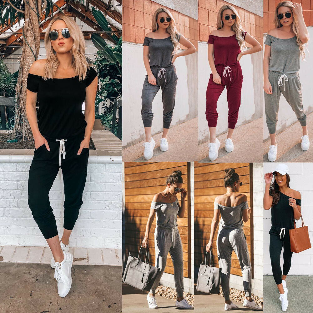2019 Fashion Women's Off Shoulder Solid Casual Loose Playsuit Bodycon Short Sleeve Jumpsuit Romper Trousers