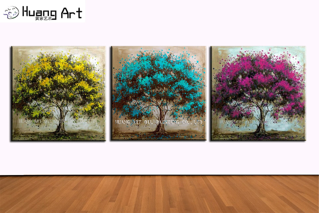 Hot Hand Painted Modern Blue Tree Paintings Home Decor Abstract Canvas  Painting Wall Art Living Room Part 70