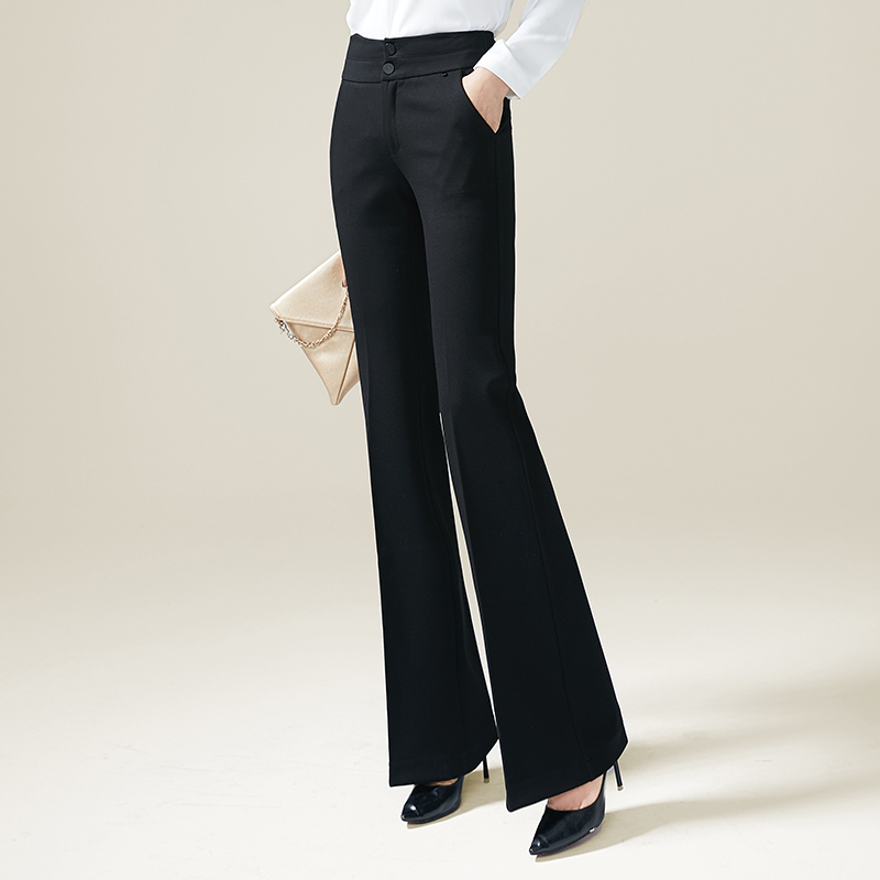 High Waist Flare Pants Fake Zippers OL Black Pants Full Length Elegant Female Trousers Formal Pants Women Plus Size bell bottom