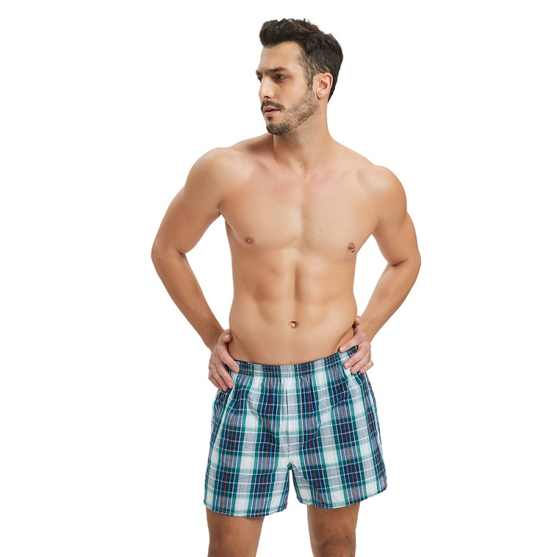 Classic Plaid Men's Boxers Shorts Cotton Mens Underwear Panties Boxer With Elastic Waistband Shorts Cozy Loose Men Plus Size