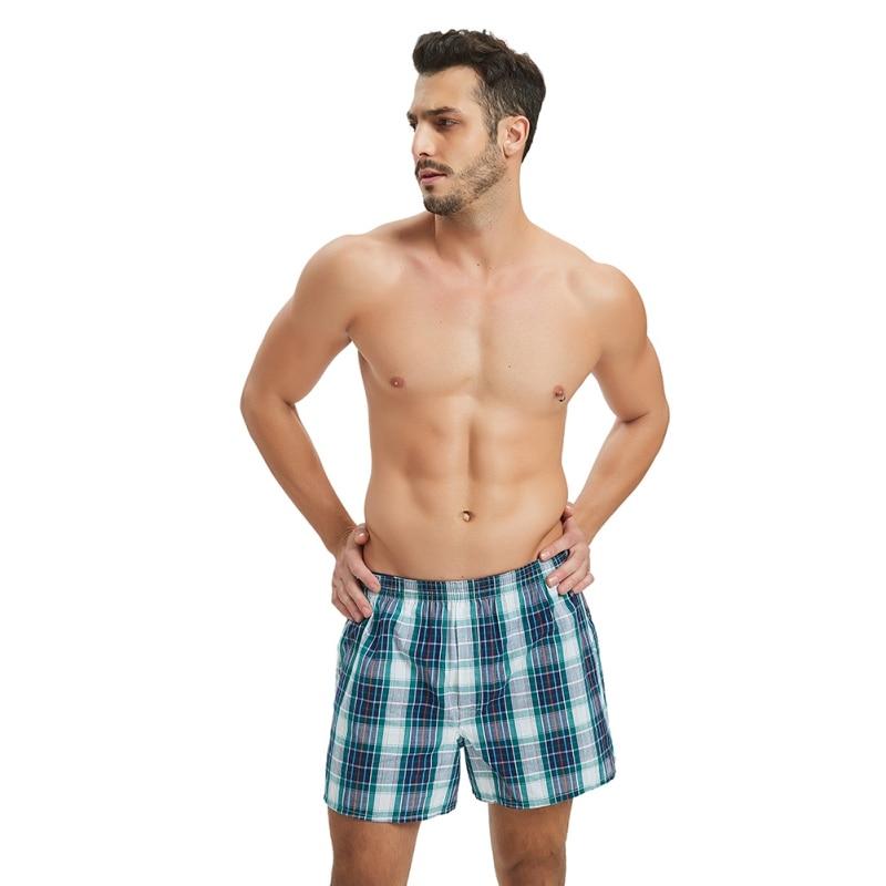 Classic Plaid Men's Boxers Shorts Cotton Mens Underwear Panties Boxer With Elastic Waistband Shorts Cozy Loose Men Plus Size