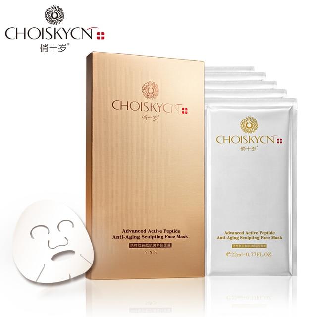 CHOISKYCN Advanced active peptide anti-aging sculpting skin whitening Face paper Mask, pore refining silk facial mask 5PCS/BOX