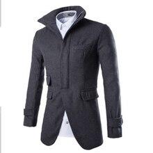 Повседневная средний и длинный участок отложным воротником мужская ветровка куртка тонкий молнии шерстяные пальто