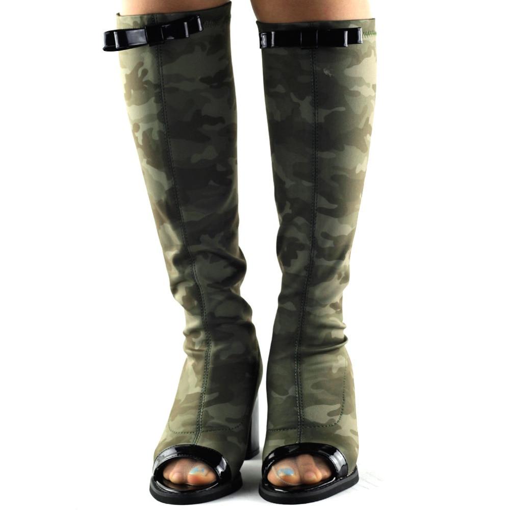 Q309012 Show Story Punk Camo Military Stretch Peep-Toe Thigh High Ridding Boots