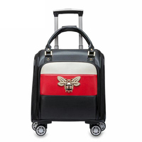 Woman 16inch travel bag trolley bag with wheels spinner PU leather luggage carry on suitcase travel case cabin Portable handbag
