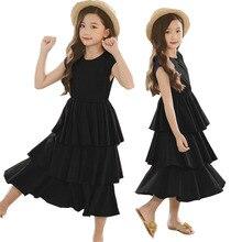 Teen Girl Children Layered Dress Black Vest Cotton Beach Kids Dresses for Girls Clothes Kids Costume 10 12 14 Years 2019 Summer цена 2017