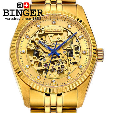 2017 bling crystal wheel hollow Skeleton quality automatic watch 18k gold watches luxury brand design Binger wristwatches