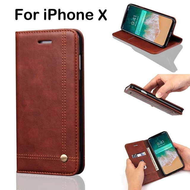 9efd42b49df85 Retro Flip Cover Wallet Case For iPhone X Leather Case Luxury Brand Ultra  Slim Original Funda With Card Holder Capa For Women
