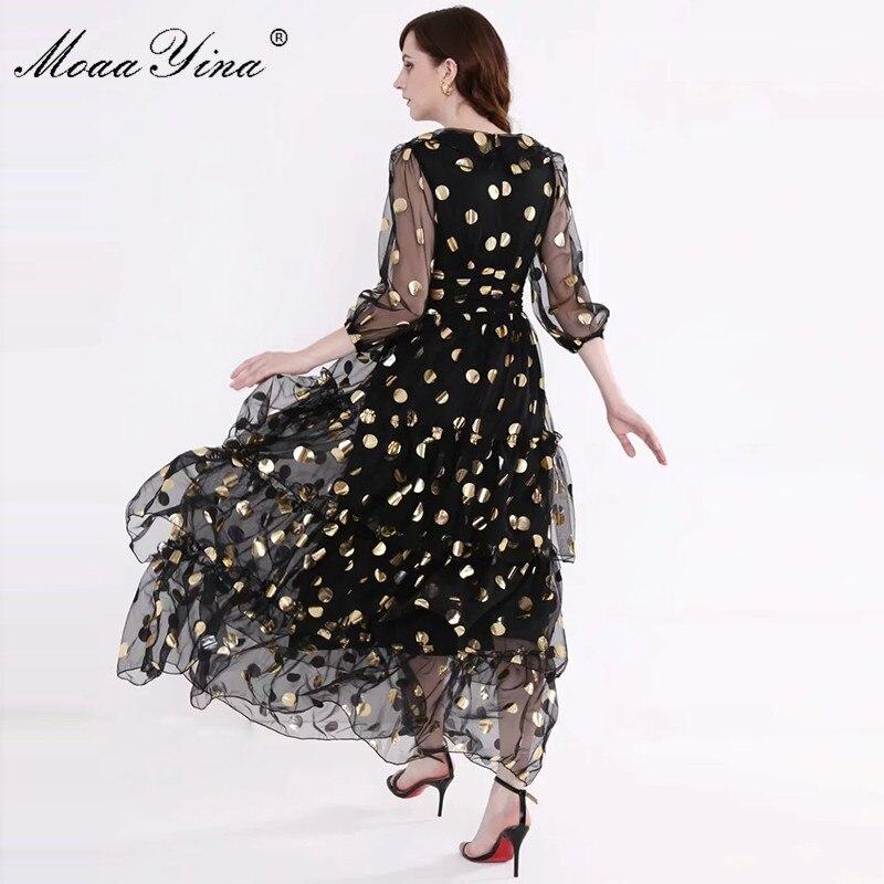 Image 5 - MoaaYina Fashion Designer Runway dress Spring Summer Women Dress V  neck Dot Mesh Black Elegant Party Ruffles DressesDresses   -