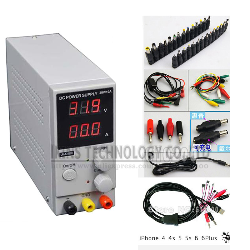 Mini Adjustable Display DC power supply 0~30V 0~10A FOR SmartPhone and Notebook Repair Power Supply+DC AC JACK SET+Repair cable cps 6011 60v 11a digital adjustable dc power supply laboratory power supply cps6011