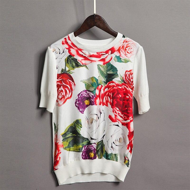 2018 Fashion New Print Flowers Women Sweater High Quality Spring Short Sleeve O_neck Slim Fashion Female Pullovers