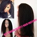 8A Cheap Coarse Yaki Full Lace Human Hair Wigs Malaysia Kinky Straight Lace Front Wigs Yaki Straight Glueless Full Lace Wigs