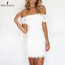 Pinky Is Black Women White Lace Sexy Bodycon Dress Soild Off The Shoulder Wedding Party 2018 Spring Short