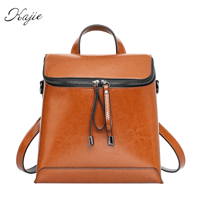Kajie 2017 Women Backpack Genuine Leather Casual Bags For Girls Small Shoulder Bag Fashion Oil Wax Backpacks Teenage Travel Bag fashion women oil wax leather backpacks for teenage girls school rivet backpack bag ladies female casual vintage shoulder bags
