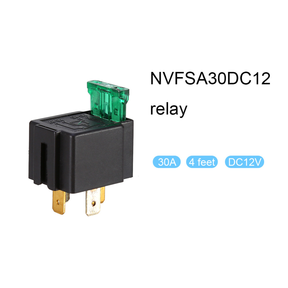 5 Pin Relay Mounting Base Socket Holder With 30a  12v Fused