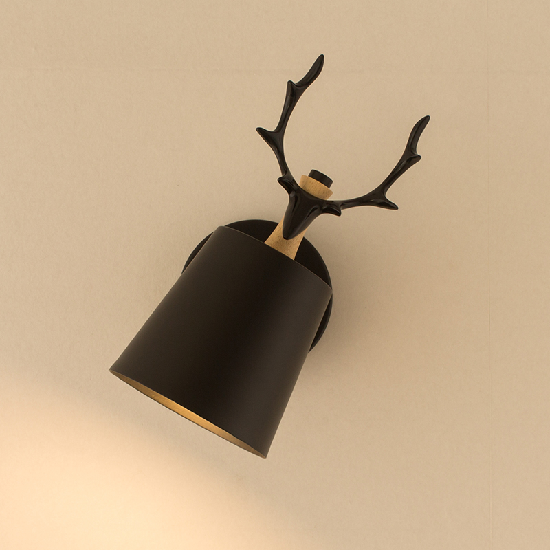 Children room novelty Deer Head wood Wall Lamp Bedside Lamp Modern wall fixtures Tv Background antlers Wall sconce Applique Led цена